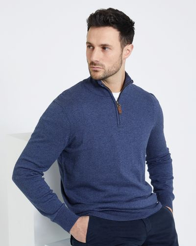 Paul Costelloe Living Half Zip Cotton Silk Cashmere Jumper