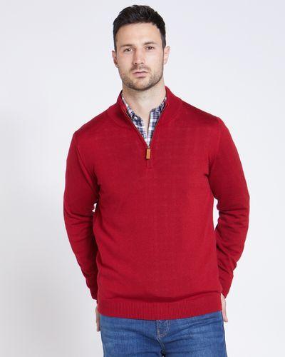 Paul Costelloe Living Red Merino Half Zip Zip Jumper (Made in Italy)