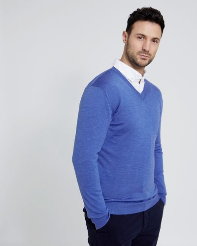 Paul Costelloe Living Blue Merino Vee Neck Jumper (Made in Italy)