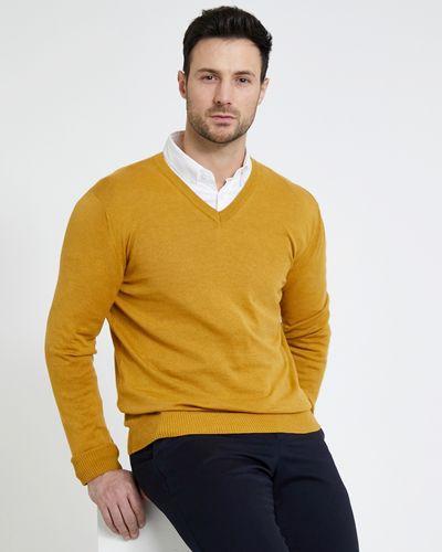 Paul Costelloe Living Gold V-Neck Linen Blend Jumper