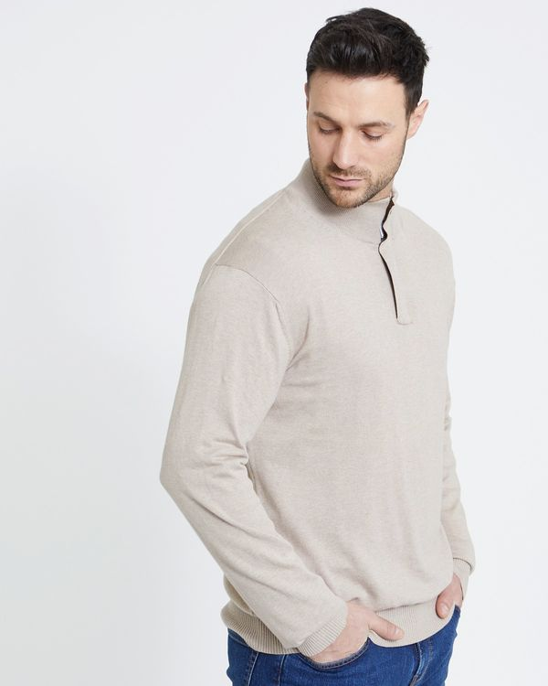 Paul Costelloe Living Stone Suede Zip Neck Jumper (Made in Italy)