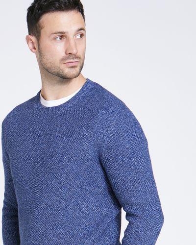 Paul Costelloe Living Blue Textured Crew-Neck Knit Jumper