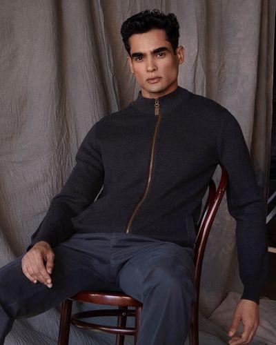 Paul Costelloe Living Charcoal Zip Through Cardigan