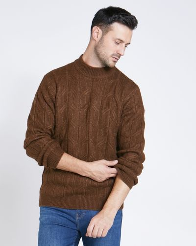 Paul Costelloe Living Tan High Collar Cable Knit Jumper