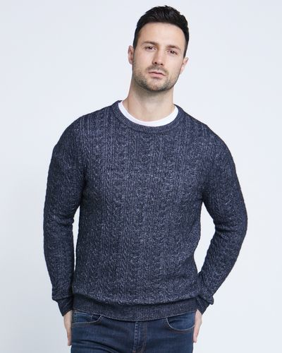 Paul Costelloe Living Navy Twisted Cable Crew Neck Jumper thumbnail