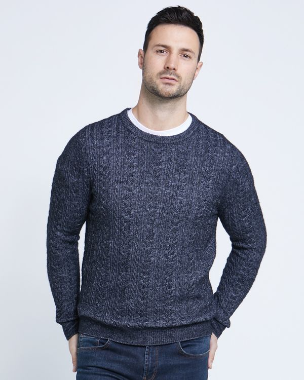 Paul Costelloe Living Navy Twisted Cable Crew Neck Jumper