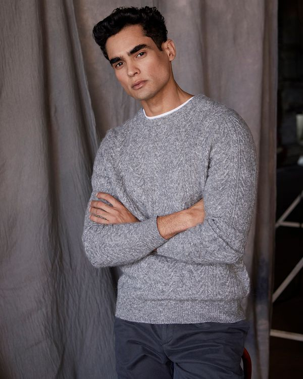Paul Costelloe Living Grey Twisted Cable Crew Neck Jumper