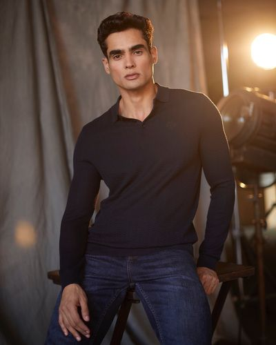 Paul Costelloe Living Long-Sleeved Textured Polo