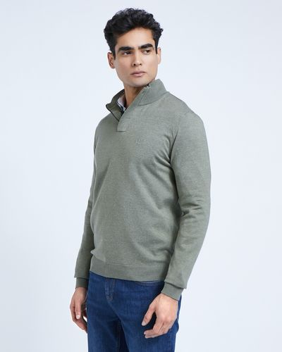 Paul Costelloe Living Green Half-Zip Cotton Jumper