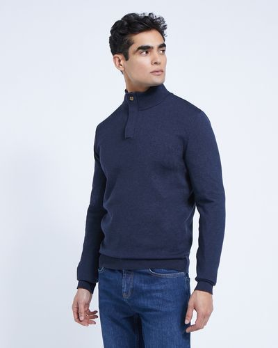 Paul Costelloe Living Navy Half-Zip Cotton Jumper