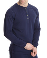 navy Paul Costelloe Living Henley Neck Lounge Top