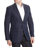 navy Paul Costelloe Living Wool Linen Herringbone Blazer (Limited Edition)
