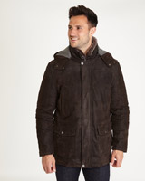 brown Paul Costelloe Living Crowe Leather Parka