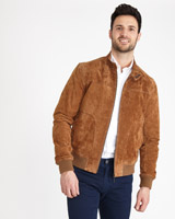 tan Paul Costelloe Living Suede Harrington Jacket