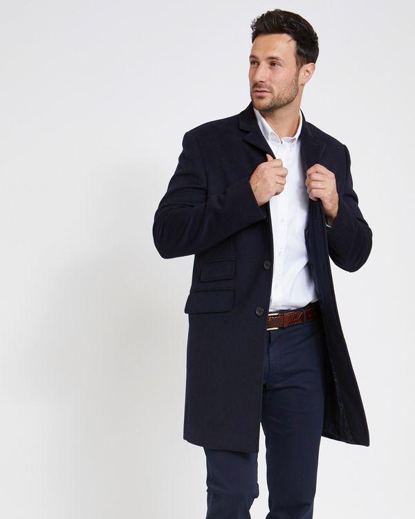 Paul Costelloe Living Navy Velvet Collar Overcoat