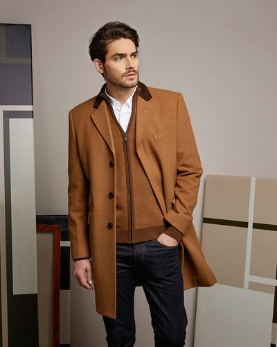 Paul Costelloe Living Tan Velvet Collar Overcoat