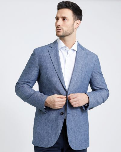 Paul Costelloe Living Linen Blend Chambray Blazer thumbnail