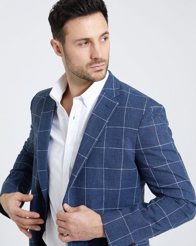 Paul Costelloe Living Linen Blend Check Blazer