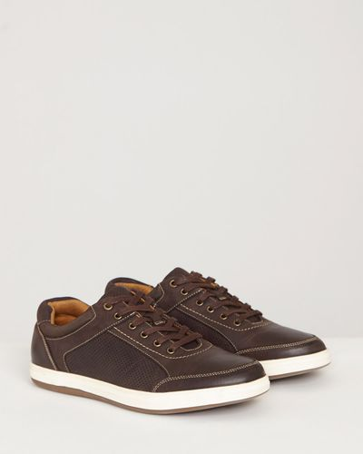 Paul Costelloe Living Brown Leather Trainers
