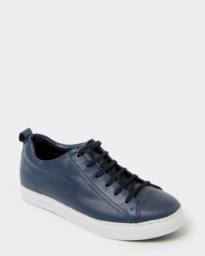 Paul Costelloe Living Navy Leather Trainer