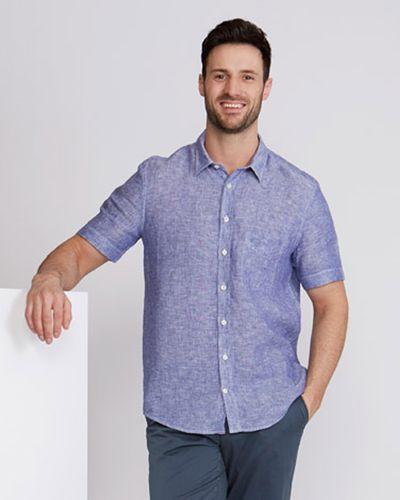 Paul Costelloe Living Regular Fit Short-Sleeved Linen Shirt