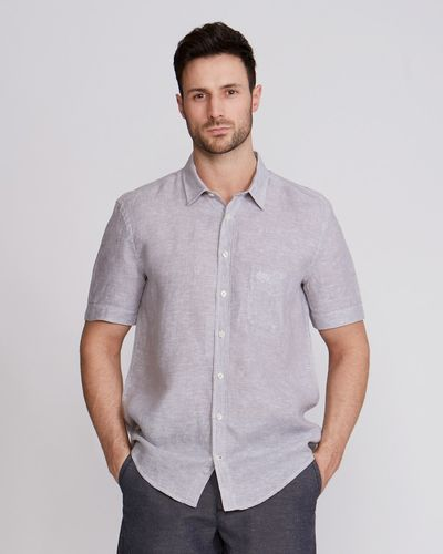 Paul Costelloe Living Regular Fit Short-Sleeved Linen Shirt