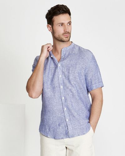 Paul Costelloe Living Regular Fit Grandad Linen Shirt