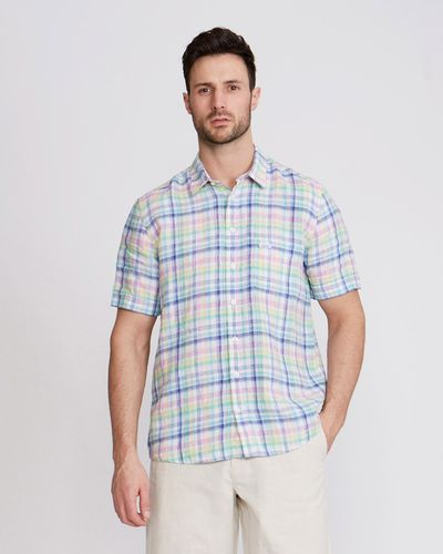 Paul Costelloe Living Regular Fit Linen Bright Check Shirt