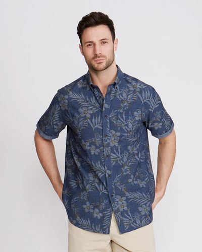 Paul Costelloe Living Navy Print Floral Shirt