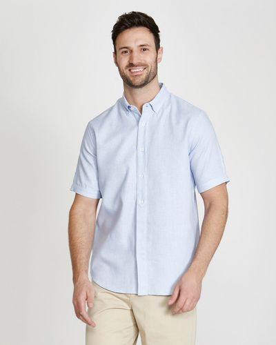 Paul Costelloe Living Regular Fit Short-Sleeved Blue Dobby Shirt