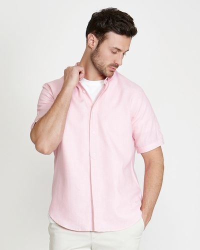 Paul Costelloe Living Regular Fit Short-Sleeved Pink Dobby Shirt