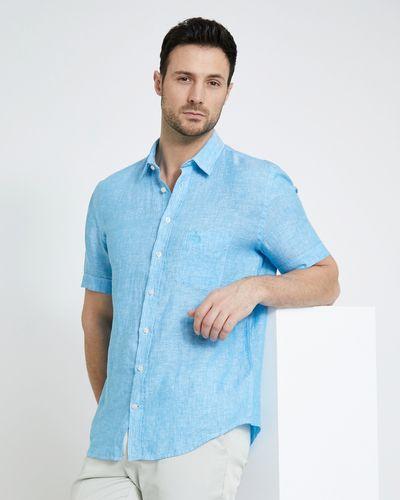 Paul Costelloe Living Regular Fit Blue Short-Sleeved Linen Shirt
