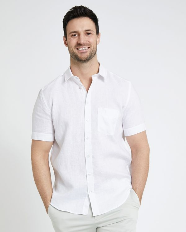 Paul Costelloe Living Regular Fit White Short-Sleeved Linen Shirt