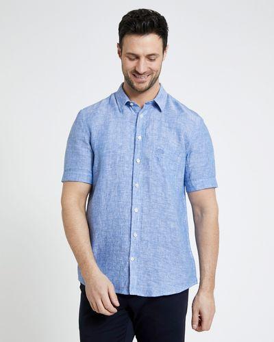 Paul Costelloe Living Regular Fit Light Blue Short-Sleeved Linen Shirt