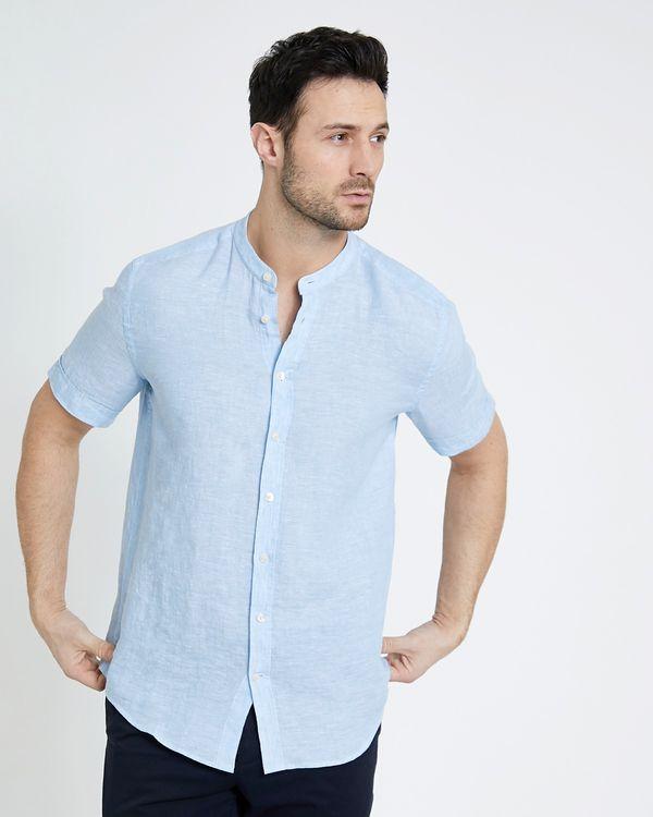 Paul Costelloe Living Regular Fit Blue Short-Sleeved Grandad Linen Shirt