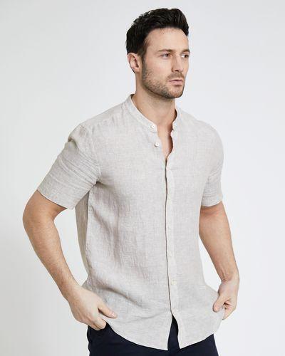Paul Costelloe Living Stone Short-Sleeved Grandad 100% Linen Shirt