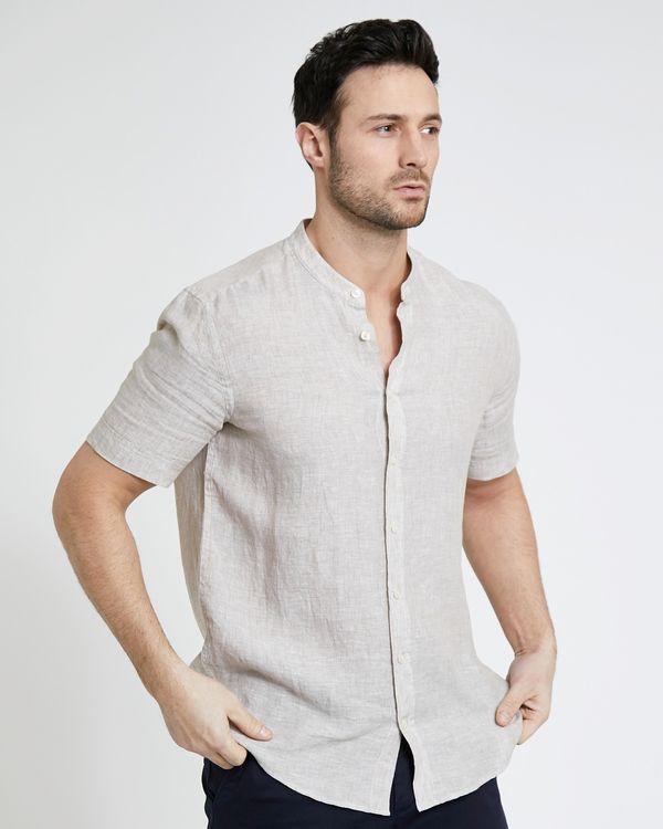 Paul Costelloe Living Stone Short-Sleeved Grandad Linen Shirt