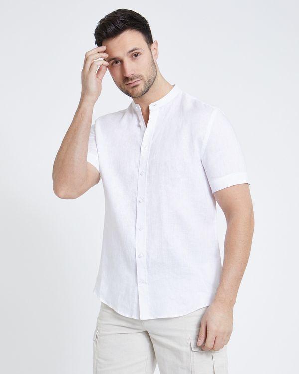 Paul Costelloe Living Regular Fit White Short-Sleeved Grandad Linen Shirt