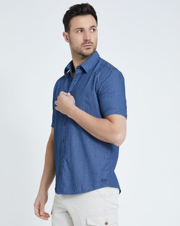 Paul Costelloe Living Regular Fit Short-Sleeved Navy Print Shirt