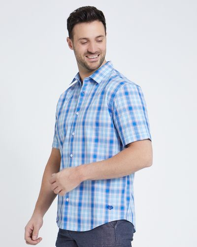 Paul Costelloe Living Blue Check Short-Sleeved Shirt