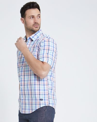 Paul Costelloe Living Mint Check Short-Sleeved Shirt