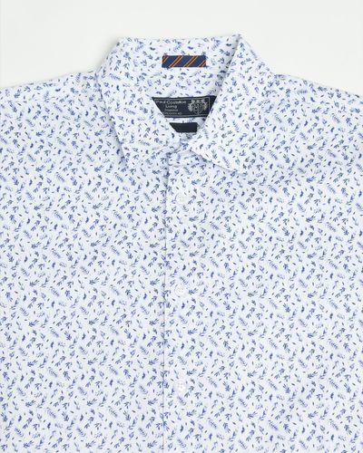 Paul Costelloe Living Regular Fit Blue Leaf Short-Sleeved Printed Shirt