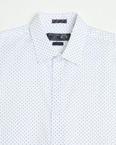 Paul Costelloe Living Regular Fit Navy Geo Print Short-Sleeved Shirt