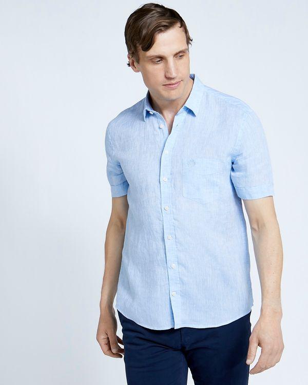 Paul Costelloe Living Regular Fit Blue Short Sleeve 100% Linen Shirt