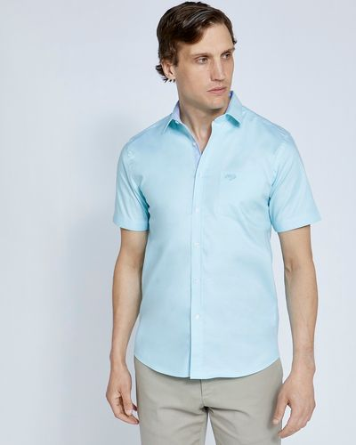 Paul Costelloe Living Slim Fit Aqua Short Sleeve Oxford Shirt