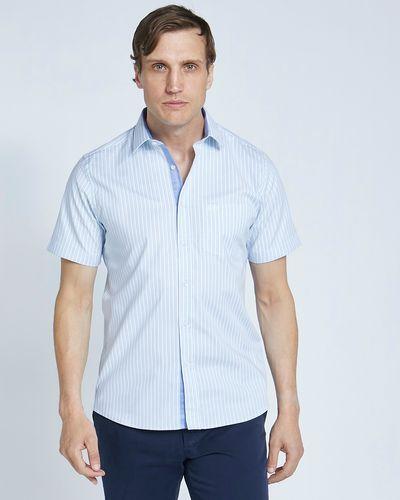 Paul Costelloe Living Slim Fit Aqua Stripe Short Sleeve Oxford Shirt