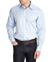 light-blue Paul Costelloe Living Blue Yarn-Dyed Dobby Shirt