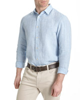 blue Paul Costelloe Living Linen Slub Shirt