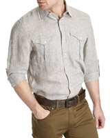 tan Paul Costelloe Living Linen Camp Shirt