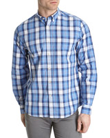 blue Paul Costelloe Living Havana Check Long-Sleeved Shirt